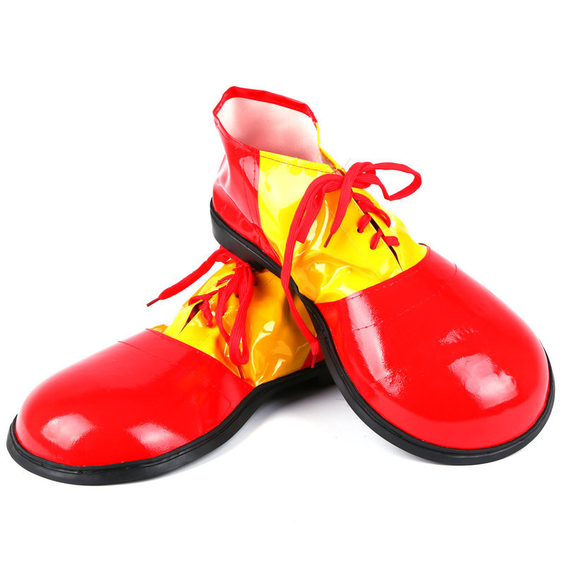 Adults Funny PU Leather Circus Clown Shoes Big Head Cosplay Clown Shoes Carnival Party Performance Costume Props Halloween