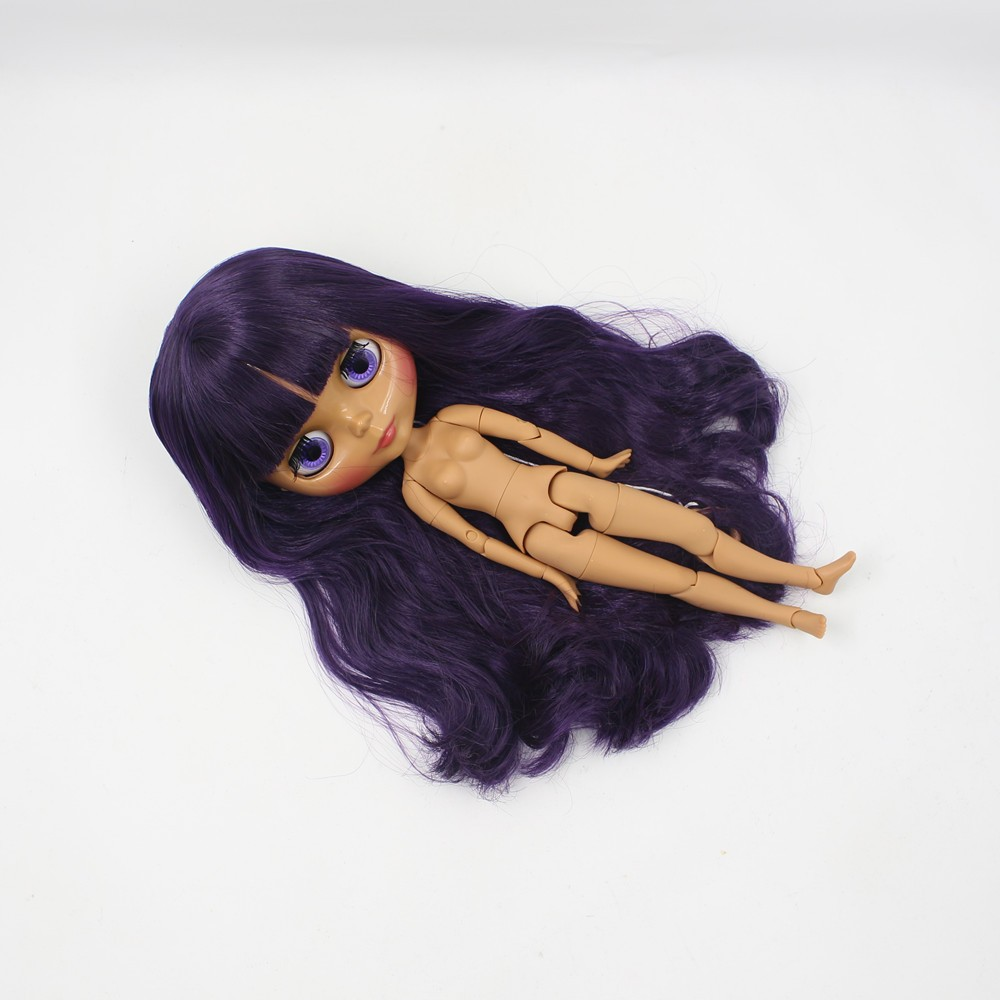 Neo Blythe Doll with Purple Hair, Dark Skin, Shiny Face & Jointed Body 2