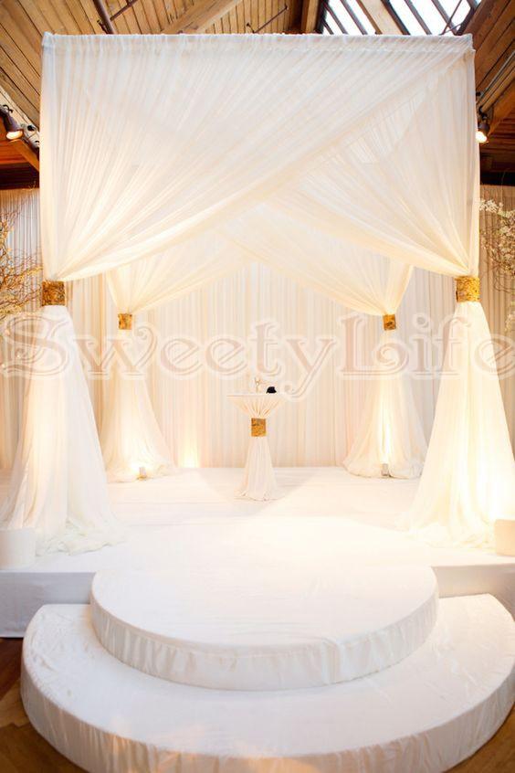 10ft x 10ft x10ft белый квадратный навес с золотой драпировкой с трубами из нержавеющей стали свадебное украшение для сцены