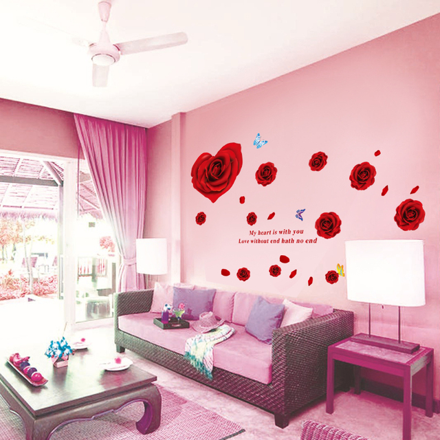 &% new creative red rose Flowers bedroom TV backdrop living room ...