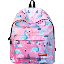 school bag for girls Flamingo canvas printing girl backpack for school bags for kids pink orthopedic schoolbag book bags