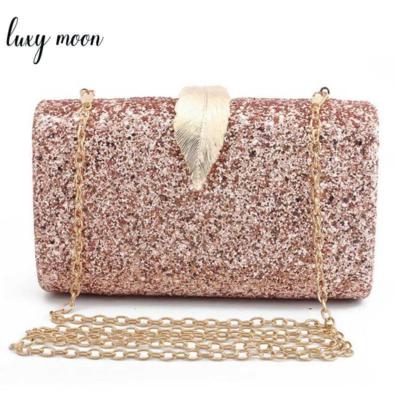 0ea71027ac87 Мода блестками клатч Для женщин вечерние сумки Bling Ежедневные клатчи  позолоченный металл замочек в форме листа