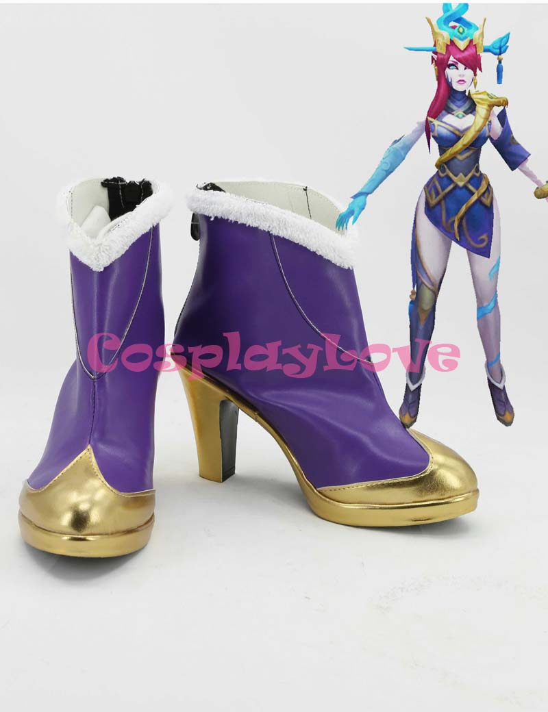 Newest Custom Made American Game LOL Purple High Heel Cosplay Shoes Long Boots For Christmas Halloween Festival CosplayLove