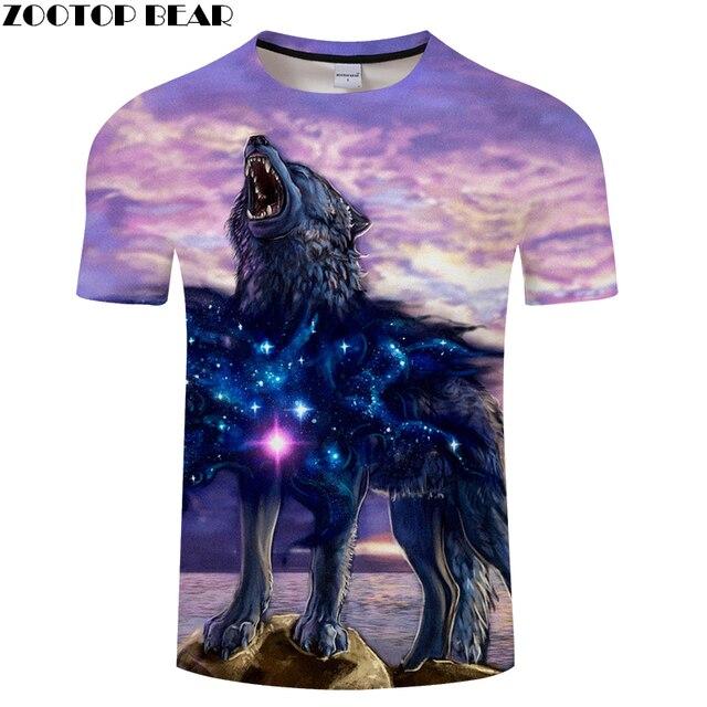חדש galaxy 3D זאב חולצה הדפסת קיץ נשים חולצה מזדמן tshirts Streetwear חולצות & Tees זרוק ספינה 2018 ZOOTOP דוב