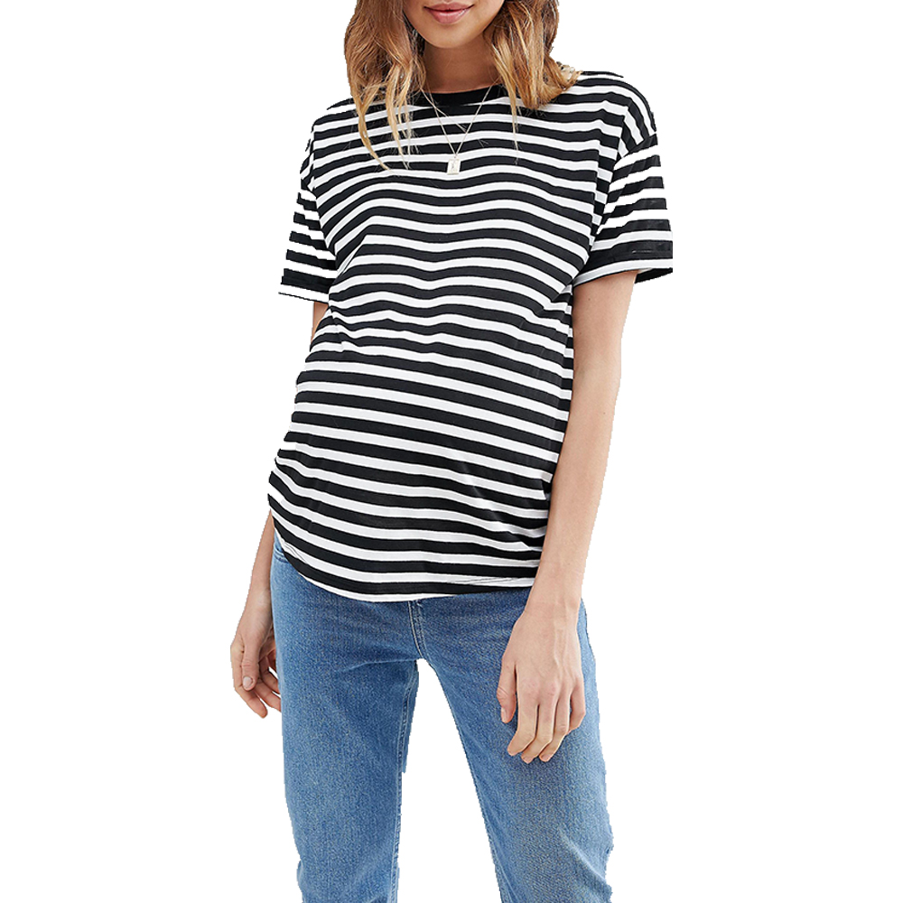Women Maternity Clothes Black Striped Tees Pregnant Women Top Casual Round Neck Top Short Sleeve Tees for Pregnancy Women casual style scoop neck openwork fringe short sleeve tank top for women