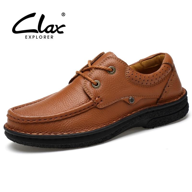 CLAX Men Genuine Leather Shoe 2017 Autumn Dress Shoes Men's Leather Footwear Handmade Derby Shoes terse luxury band men shoes handmade genuine leather dress shoes for men orange color custom logo service footwear derby shoe