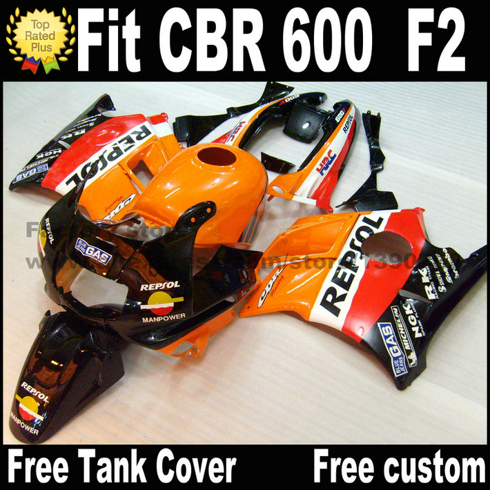 Plastic fairing kit for HONDA 91 92 93 94 CBR 600 F2 orange black REPSOL CBR600 1991 1992 1993 1994 fairings CV25 hot sales 100% fitment fairing for honda nsr250r mc21 90 91 92 93 1990 1993 nsr 250 r rothmans fairings injection molding