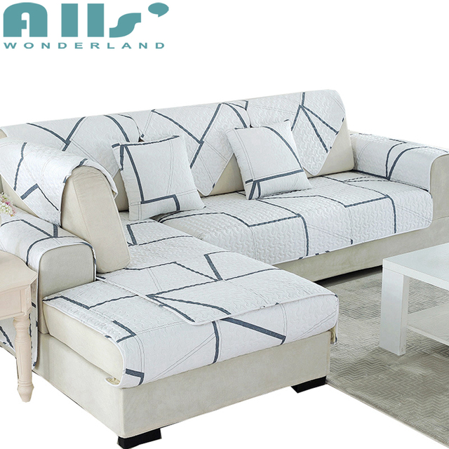 White And Grey Sectional Sofa Slipcover Geometric Patterns Living Room Seat Covers 1pc Universal Couch Protector