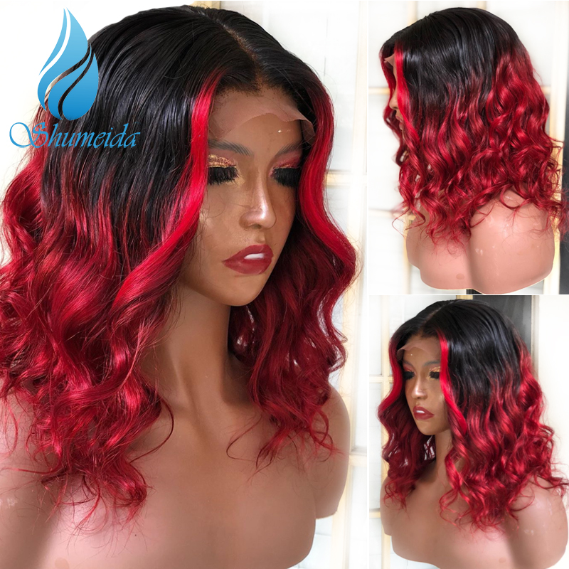 SHD 13 6 Lace Frontal Wigs Brazilian Remy Human Hair Highlight Red Color Wigs Loose Wave