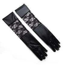 New imitation leather rose black lace sun protection gloves stage performance decorative