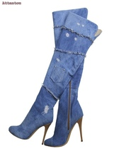 blue denim cut outs long boots knee high great woman boots thin heel female shoes peep toe fashion shoes night club boots