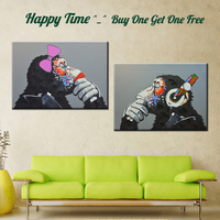Popular Modern Oil Painting Canvas Print Cartoon Animal Monkey Home Decor Art For Living Room Picture