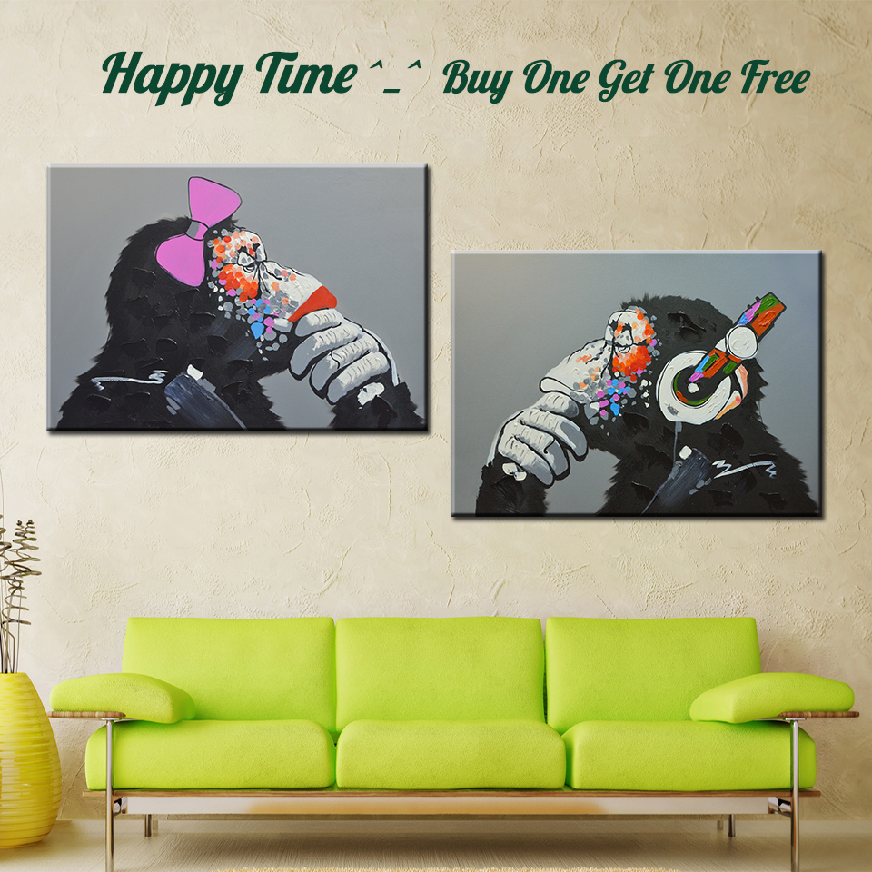 Popular Modern Oil Painting Canvas Print Cartoon Animal Monyet Home Decor Art for Living Room Picture Beli One Get One Free