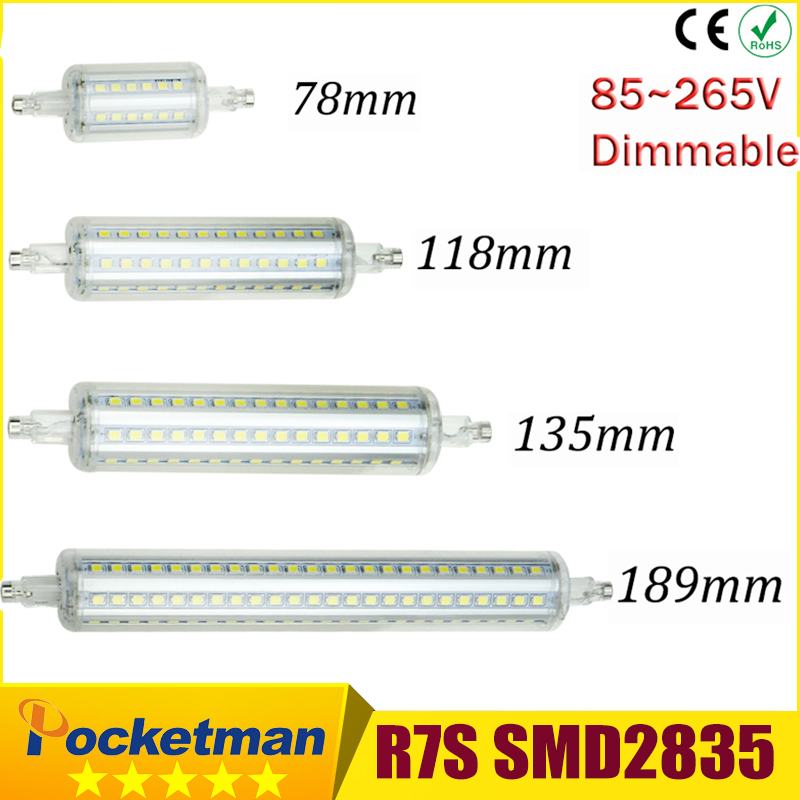CREE LED Light Lamp Dimmable R7S led J118 118mm 360degree 2835SMD J78 78mm lampadas led r7s bulb J135 135mm replace halogen lamp dimmable r7s 30w 118mm led bulb floodlight bulb r7s light j118 r7s lamp no fan no noise replace halogen lamp ac85 265v