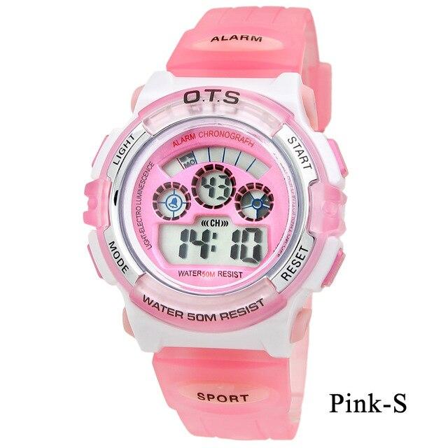 30c796f935a OTS Moda Infantil Digital LED Watch 50 M à prova d  água esporte ao ar  livre cores Doces relógios meninos meninas Crianças Silicone cronômetro em  Relógios ...