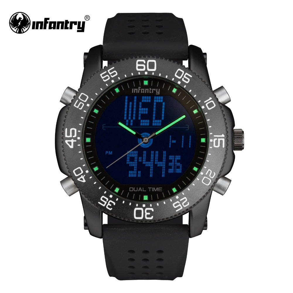 INFANTRY Mens Military Watches Luxury Dual Movement Quartz Watches Russian Police Watches Gift for Male Clock