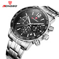 LONGBO Luxury Men Genuine Leather Stainless Steel Band Sports Quartz Watches For Men Male Leisure Watch Relogio Masculino 80172