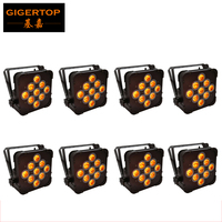 Oferta Paquete de 8 latas de PAR de 2,4G inalámbricas, DMX512, RGBWA 5 en-1, 9 LEDs 15 vatios carcasa de aluminio Color negro tipo remoto