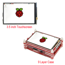 On sale Raspberry Pi 3 Touchscreen 3.5 inch LCD Touch Screen Dispaly Module + New 9-layer Acrylic Case Kit