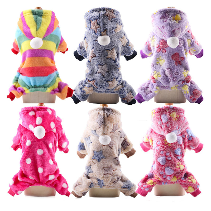pawstrip XS 2XL Soft Fleece Dog Jumpsuit Winter Dog Clothes Small Puppy Coat Pet Outfits Warm Dog Hoodie Clothing For Yorkie in Jumpsuits Rompers from Home Garden