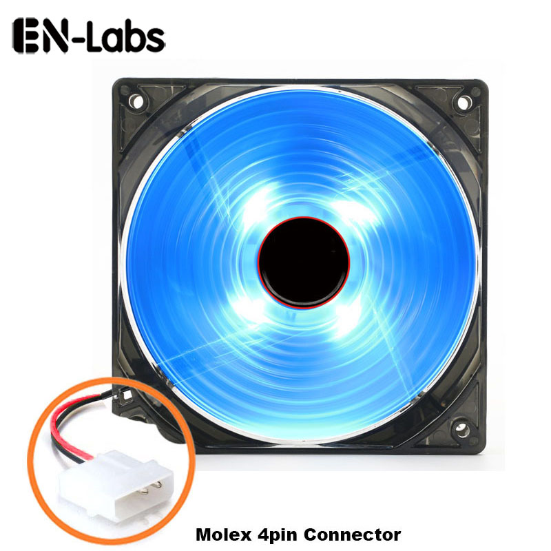 En-Labs Computer 120mm Oil Bearing 16dBA Ultra Silent 4 LED Case Fan Heatsink Ftohës, Fan Fuqia 12CM nga 12V DC IDE 4pin