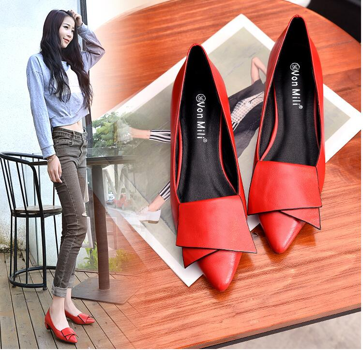 18 Leather Flat Shoes pointed toe With low Woman Loafers Cowhide Spring Casual Shoes Women Flats Women Shoes B222 17