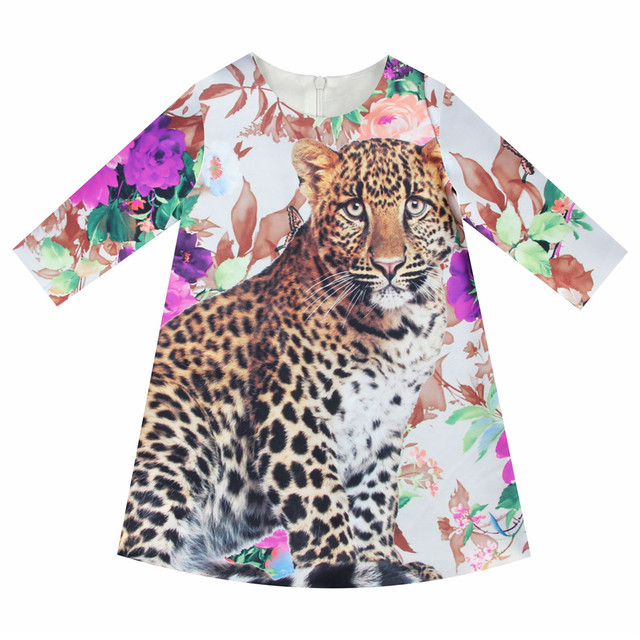 Girls Dresses leopard Print Children Designer baby Kids Clothes gril  Fashion Kids 7 sleeve Girl clothing Spring and autumn dress 4fb351bad