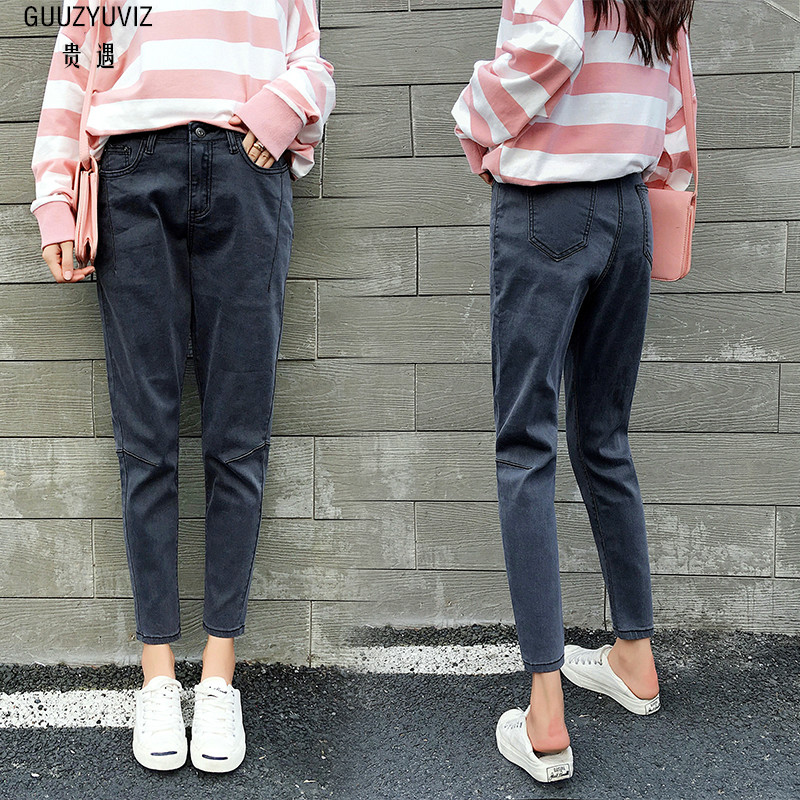Guuzyuviz Casual Autumn Winter Jeans Women Plus Thick Velvet Plus Size Denim Pants Patch Work Calca Jeans Feminina Jeans
