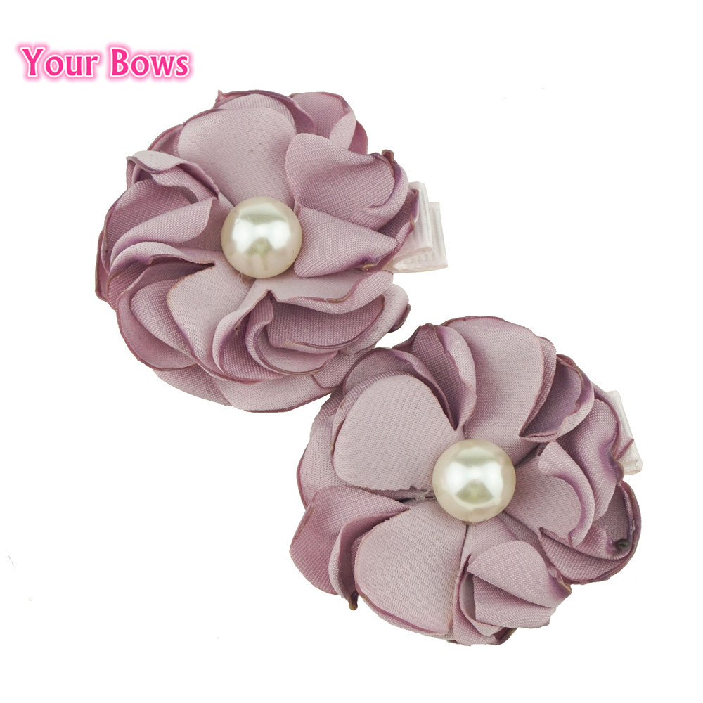 Your Bows 2Pcs Pearl Flower Hair Clips Cute Kawaii Hairpins Female Girls Pony Floral Headwear Barrettes Women Hair Accessories 1pc luxury women girls crystal hair clips opal leaf resin flower hairpins headwear jewelry elegant barrettes hair accessories