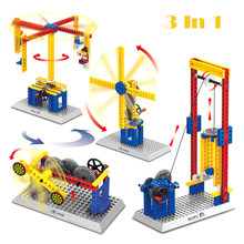 3 IN 1 Creative Engineering Building Blocks For Children 6Years Science And Technic Gear Set Compatible Legoingly Construction(China)
