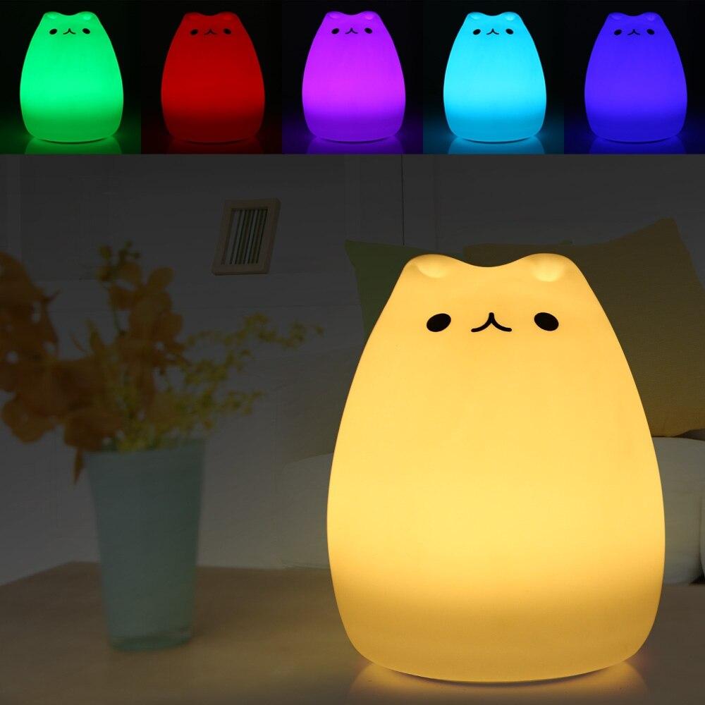 Childrens colour changing lights - Aliexpress Com Buy Lightme Color Changing Silicone Cat Night Light Bedside Led Lamp Children Bedroom Led Desk Light 8 Leds Rechargeable Led Light From
