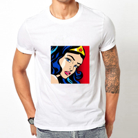 2017 New Arrival Cartoon Printed Mens T Shirt Cartoon Wonder Women White Tee Shirts Tees Superman Homme Camiseta Masculina