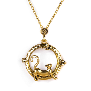 Винтажная Подвеска из дерева с изображением кота и совы, золотая цепочка для женщин и мужчин, эффектное увеличительное стекло, кабошон, длинная цепь, украшения в подарок
