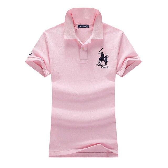 2018 новые летние женские с короткими рукавами 100% хлопок Пике большой конь вышивка логотипа тонкий футболки-поло Мода homme планка на пуговицах