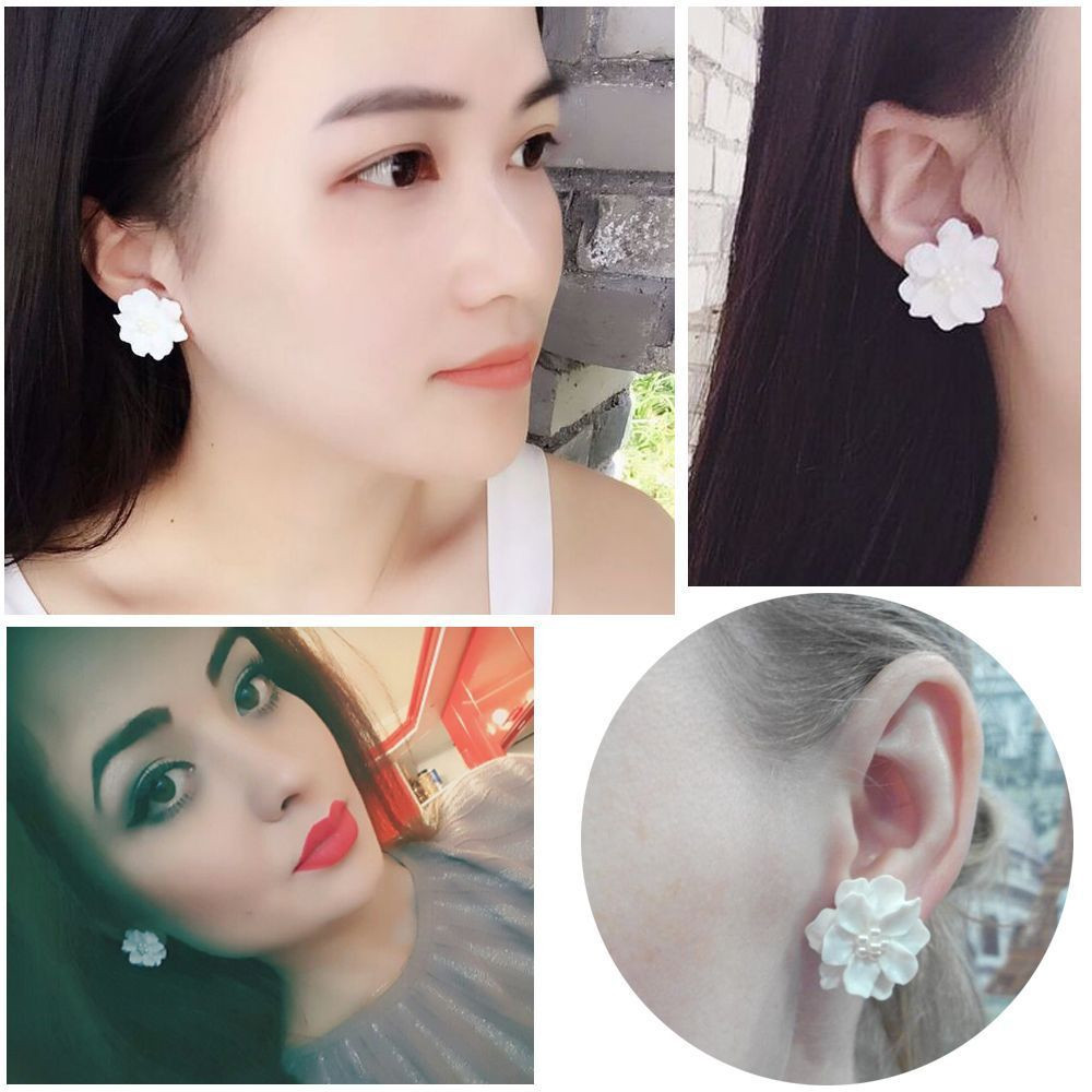 1 Pair Jewelry Gifts Stud Earring Simulated Pearl Big White Flower Camellia