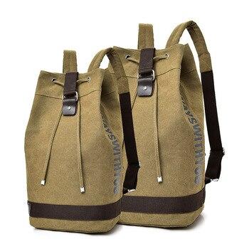 Canvas Backpack Men Large Capacity Laptop Back Pack Men's Travel Bags Bucket Rucksack Bookbag Sport Bagpack Big Packing Cubes 2