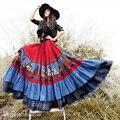 Envío libre boshow 2017 nueva vintage patchwork maxi largo más tamaño de Lino Faldas De Algodón Con Dobladillo Grande Para Las Mujeres de Bohemia faldas