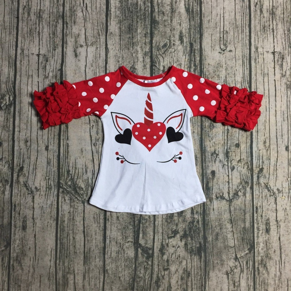 new Valentine's day white red orange T-shirt unicorn top ruffle icing sleeves love heart shirt cotton baby girls clothes raglans цены