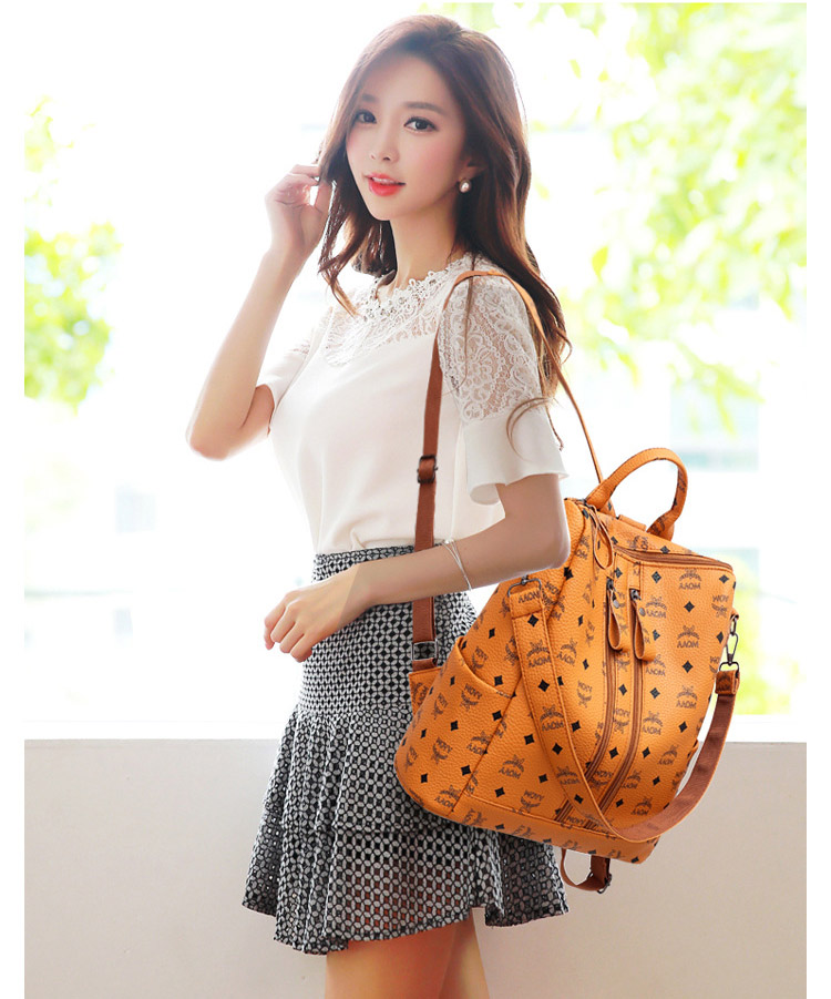 Women Fashion PU Backpack Girls Soft Leather Printed Shoulder Bag Ladies large fashion female Bagpacks for School Teenager Brown (12)