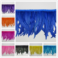 wholesale 100 Yards Rooster Feather Trim Ribbons Coque Feather Trimming Feathers For Dress Skirt Carnival Costumes Plumes