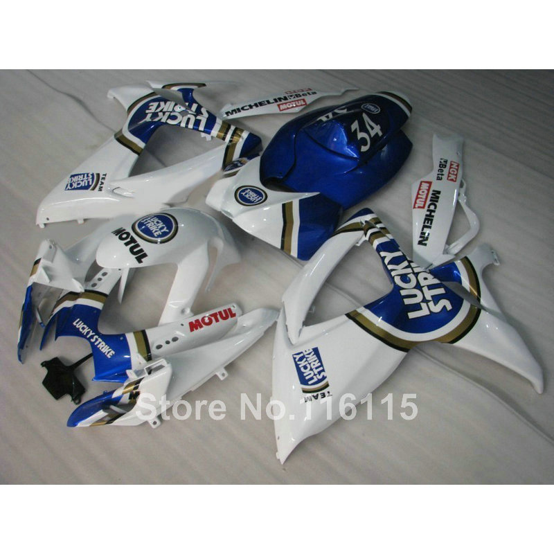 Injection Mold  Fairing Kit For SUZUKI GSXR 600 750 K6 K7 2006 2007 GSX-R600 GSX-R750 06 07 Blue LUCKY STRIKE Fairings Set V875
