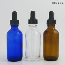 Botella cuentagotas de vidrio azul cobalto, ámbar claro, 200x60, 2oz, cuentagotas para aceites esenciales, aromaterapia, contenedores redondos Boston