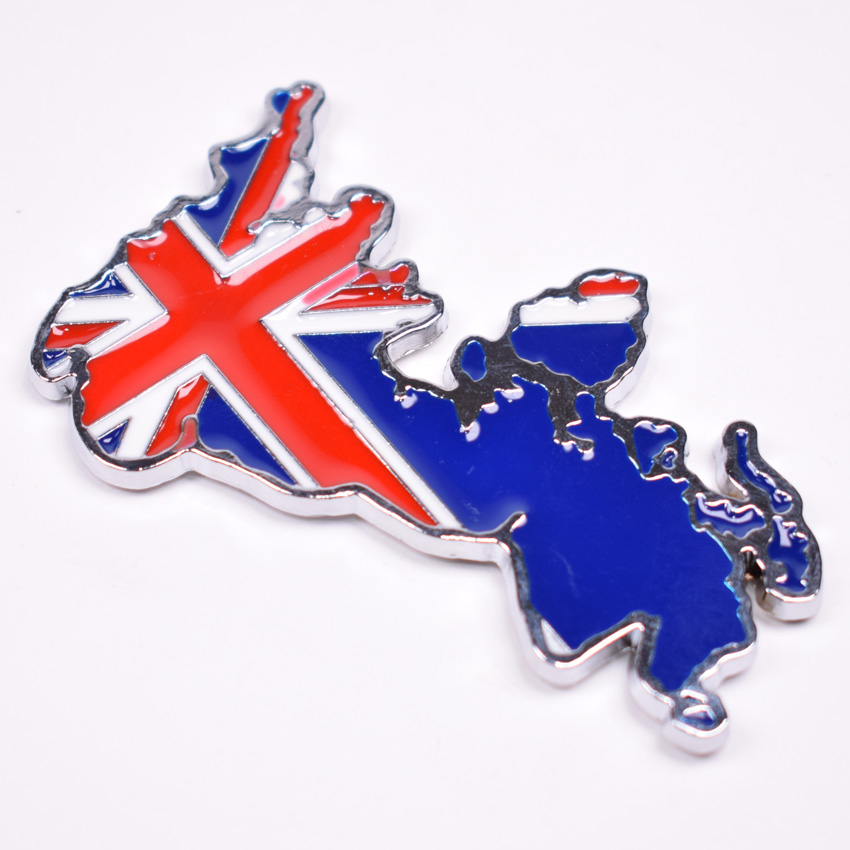 3D Metal England UK Britain Map Flag Car Body Badge Emblem Styling Sticker For Audi Nissan Honda Land Rover Universal Car-covers