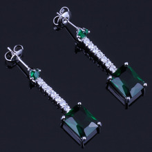 Sparkling Rectangle Green Cubic Zirconia White CZ 925 Sterling Silver Drop Dangle Earrings For Women V0367 цена