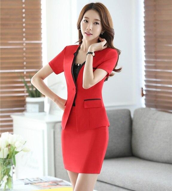 cb76b6c1d9b New Professional Novelty Red Uniform Design Business Women Suits Jackets  And Skirt 2016 Summer Short Sleeve