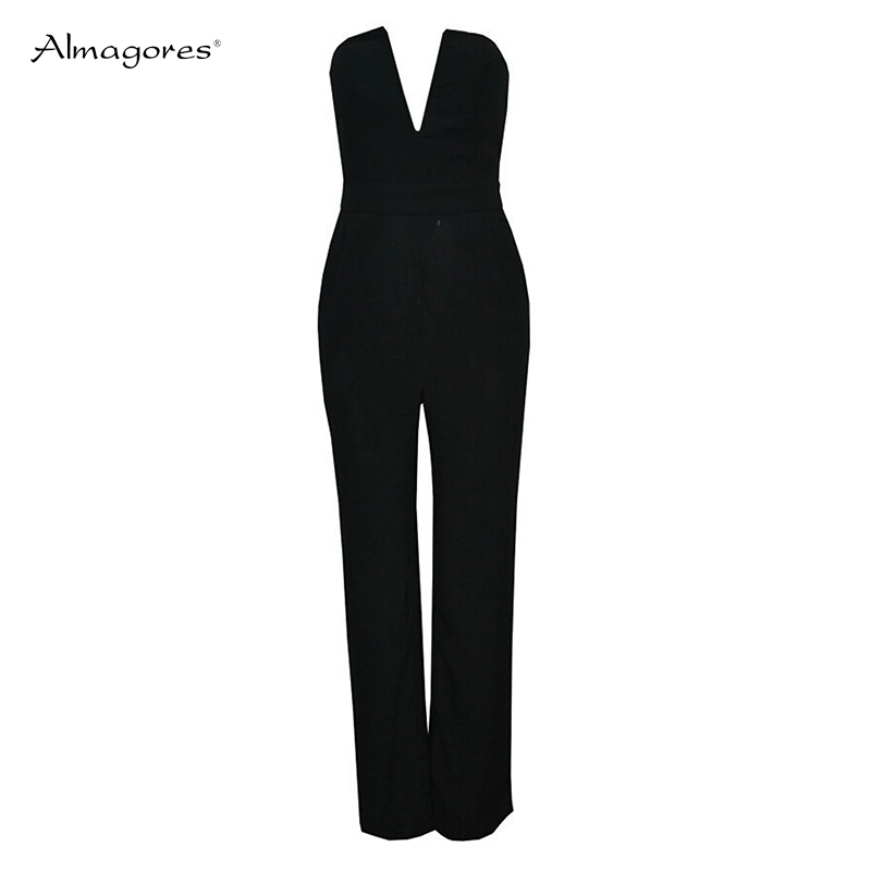 Almagores Womens Sexy High Waist Slim Jumpsuit Long Jumpsuits Black Strapless Rompers Womens Jumpsuit Overalls body feminino