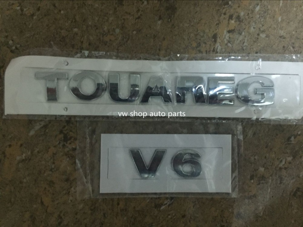 New oem quality 1set 2pcs TOUAREG V6 Bright CHROME REAR BADGE Emblem For VW 7L6 853