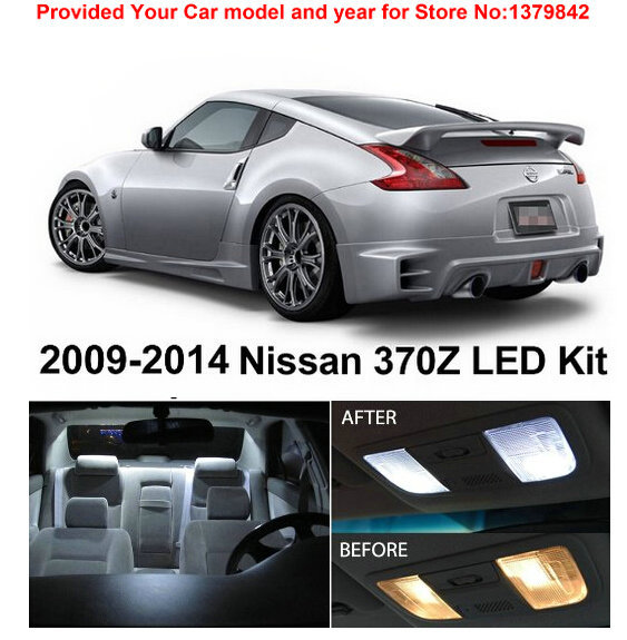Free Shipping 5Pcs/Lot car-styling Xenon White Premium Package Kit LED Interior Lights For Nissan 370Z 2009-2014