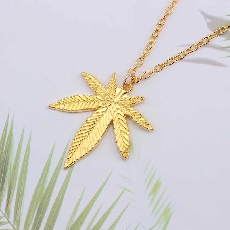 Dropshipping moda liść klonu naszyjnik konopi liść wisiorek urok naszyjnik łańcuch dla kobiet mężczyzn Gifls biżuteria akcesoria