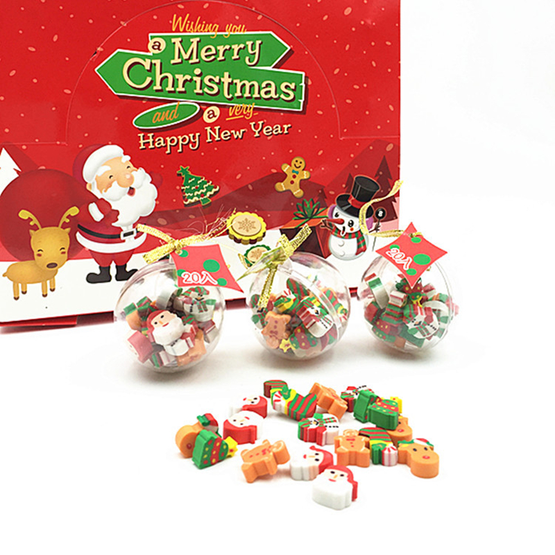 Coloffice Korean Christmas Eraser 12pcs/pack Mini Christmas Ball Erasers New Year Christmas Gifts To Children/ Students Prize